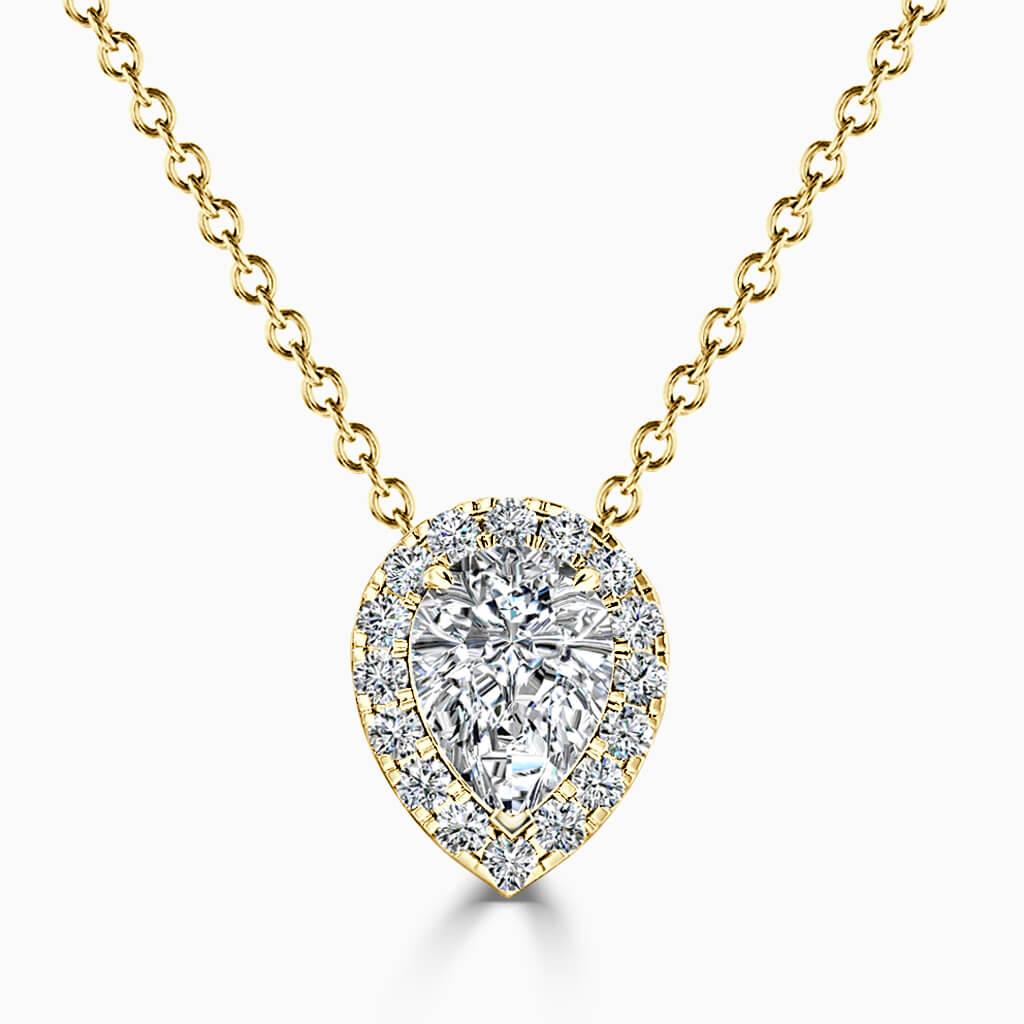 18ct Yellow Gold Pear Shape Halo Diamond Pendant