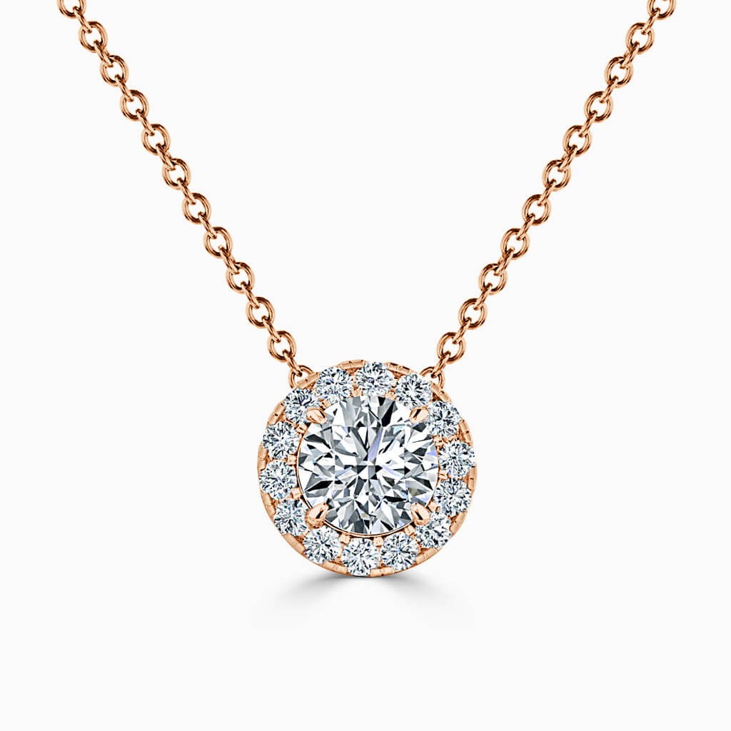 18ct Rose Gold Round Brilliant Halo Diamond Pendant