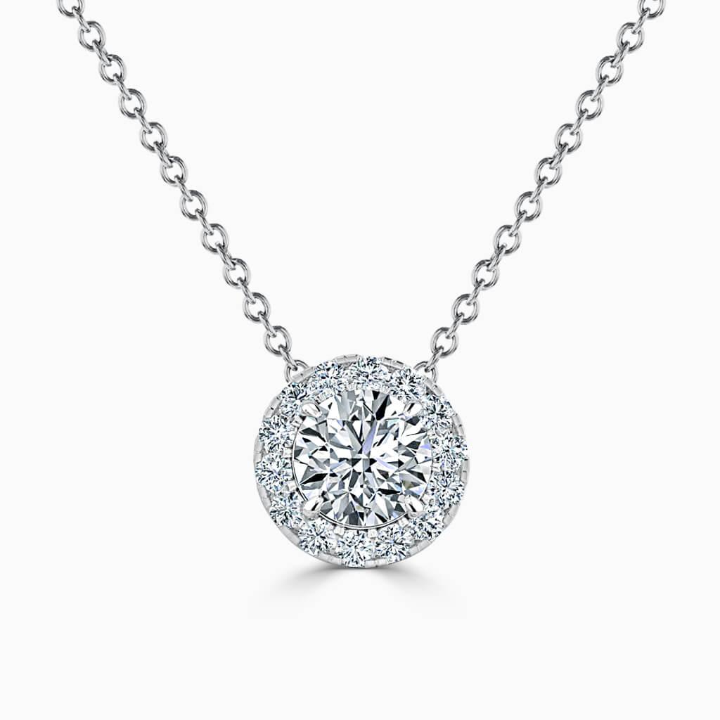 18ct White Gold Round Brilliant Halo Diamond Pendant