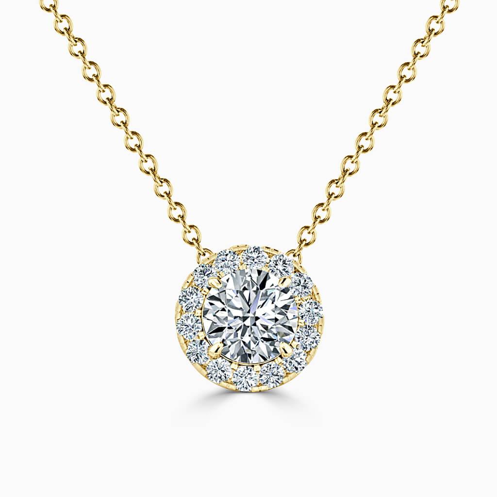 18ct Yellow Gold Round Brilliant Halo Diamond Pendant