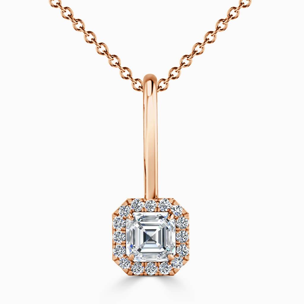 18ct Rose Gold Asscher Cut Diamond Drop Pendant