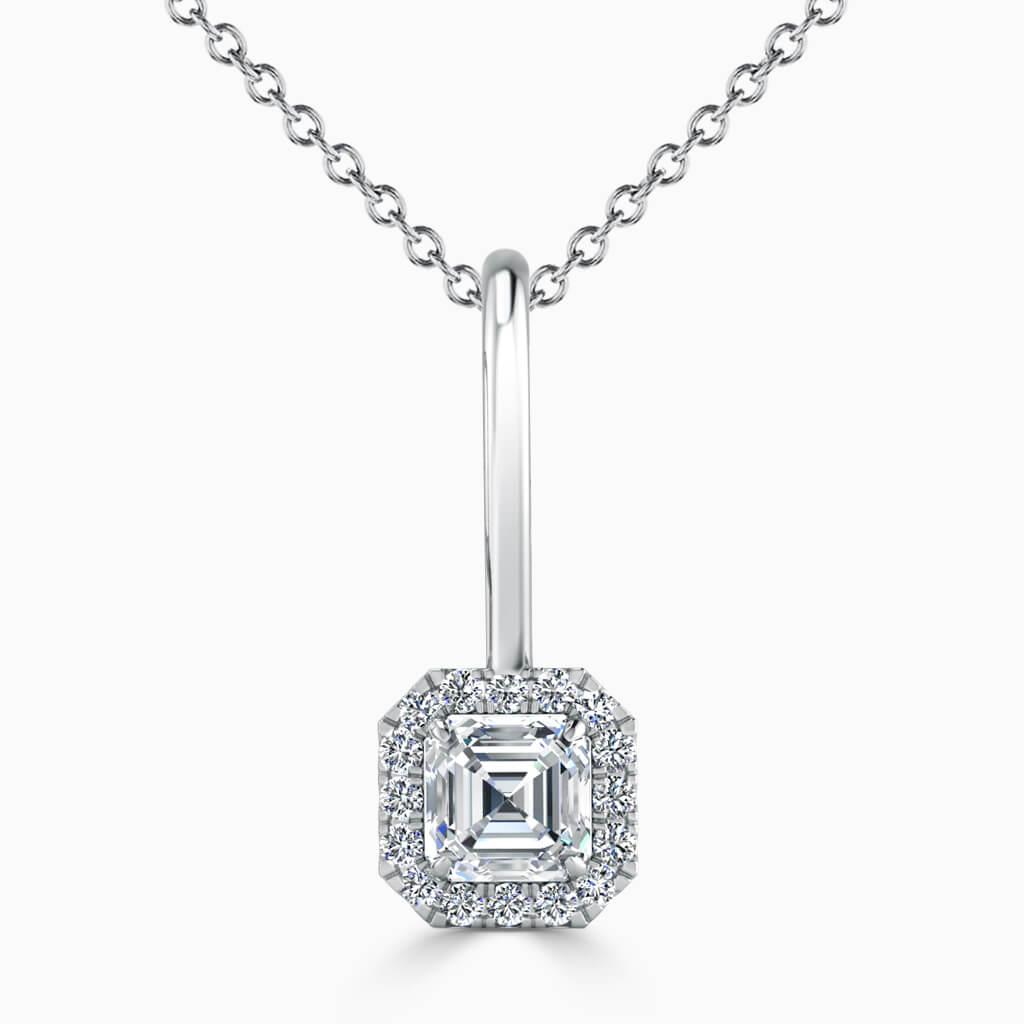 18ct White Gold Asscher Cut Diamond Drop Pendant