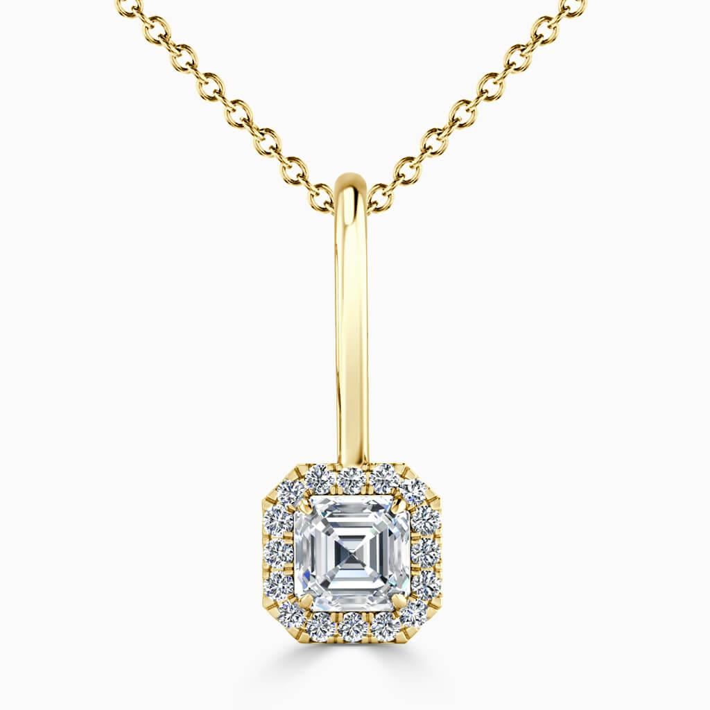 18ct Yellow Gold Asscher Cut Diamond Drop Pendant