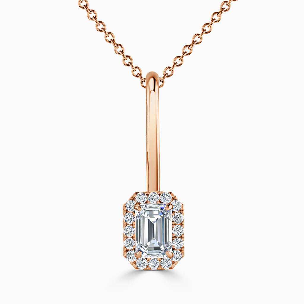 18ct Rose Gold Emerald Cut Diamond Drop Pendant
