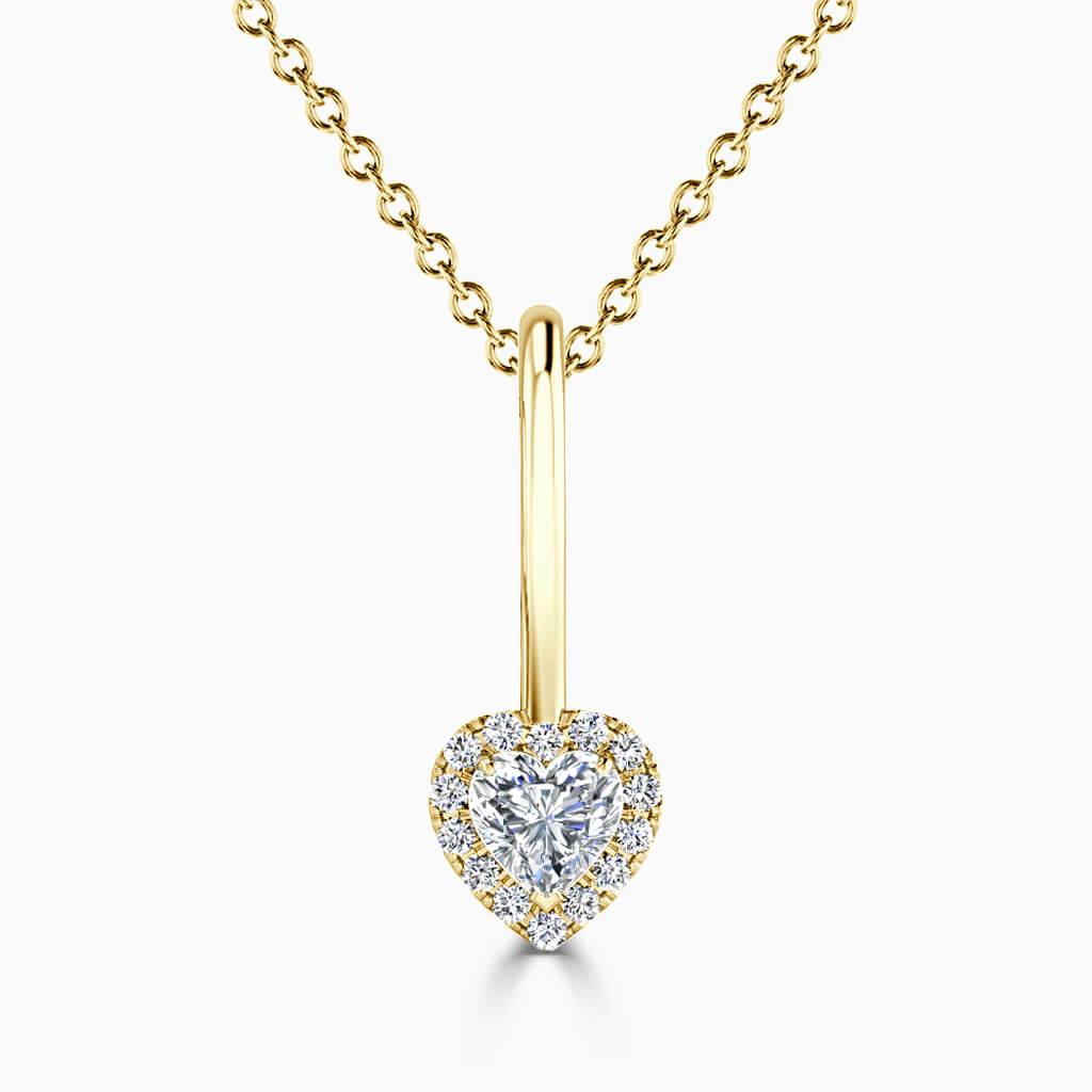 18ct Yellow Gold Heart Shape Diamond Drop Pendant