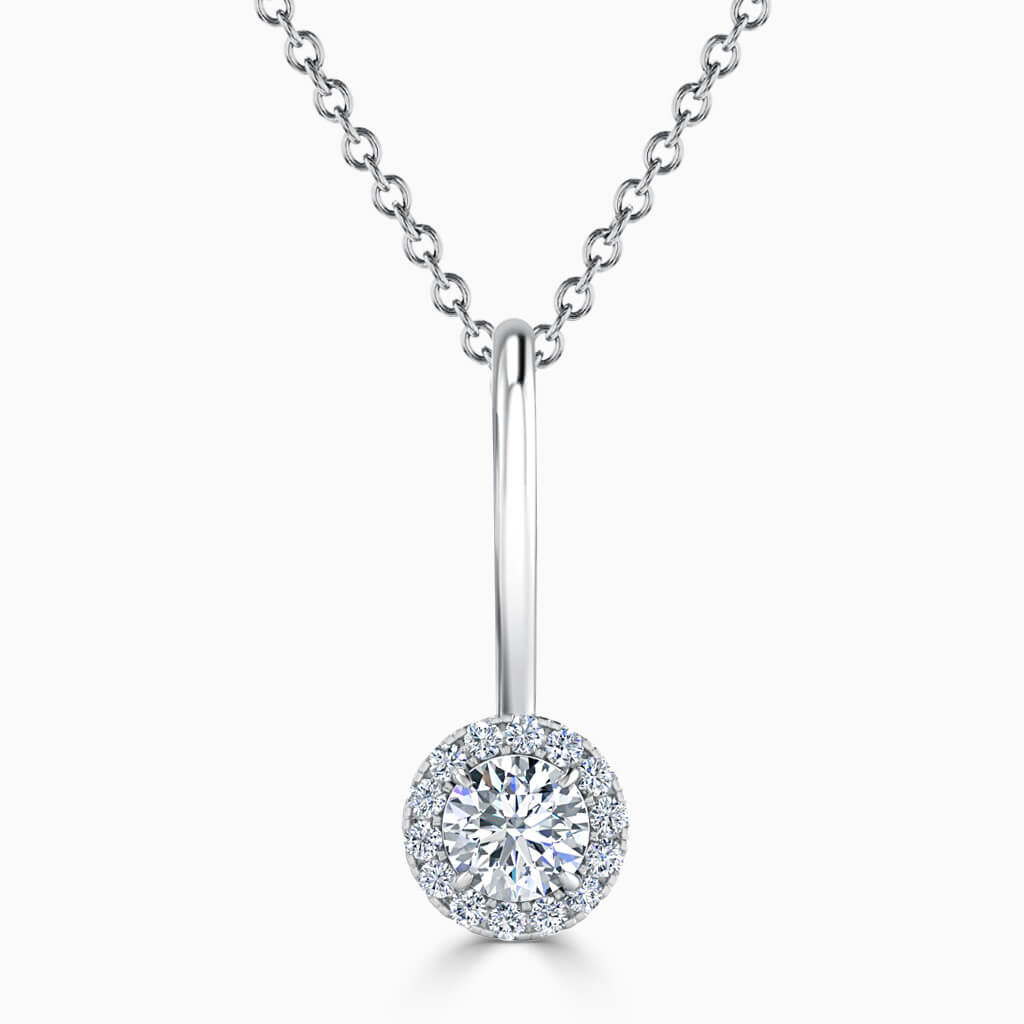 18ct White Gold Round Brilliant Diamond Drop Pendant