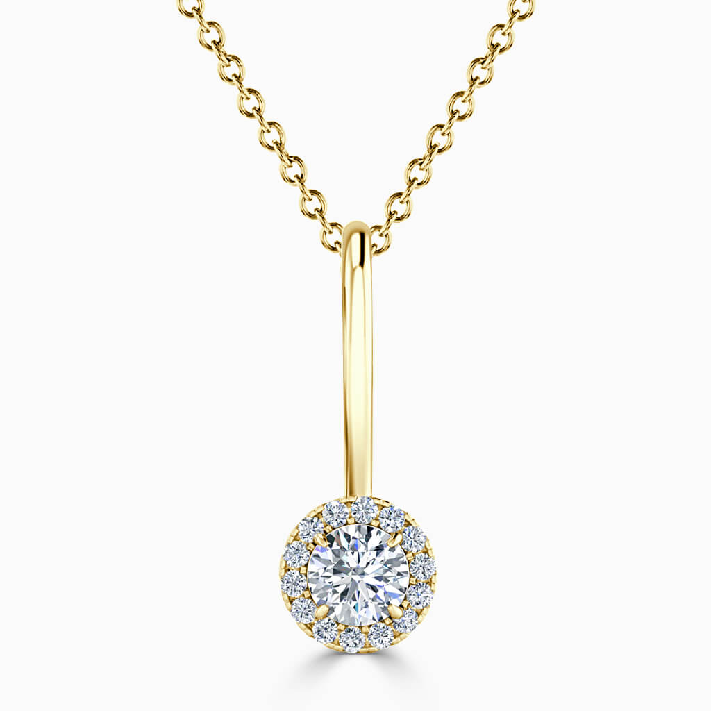 18ct Yellow Gold Round Brilliant Diamond Drop Pendant