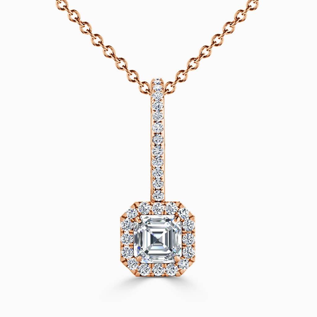 18ct Rose Gold Asscher Cut Cutdown Diamond Drop Pendant