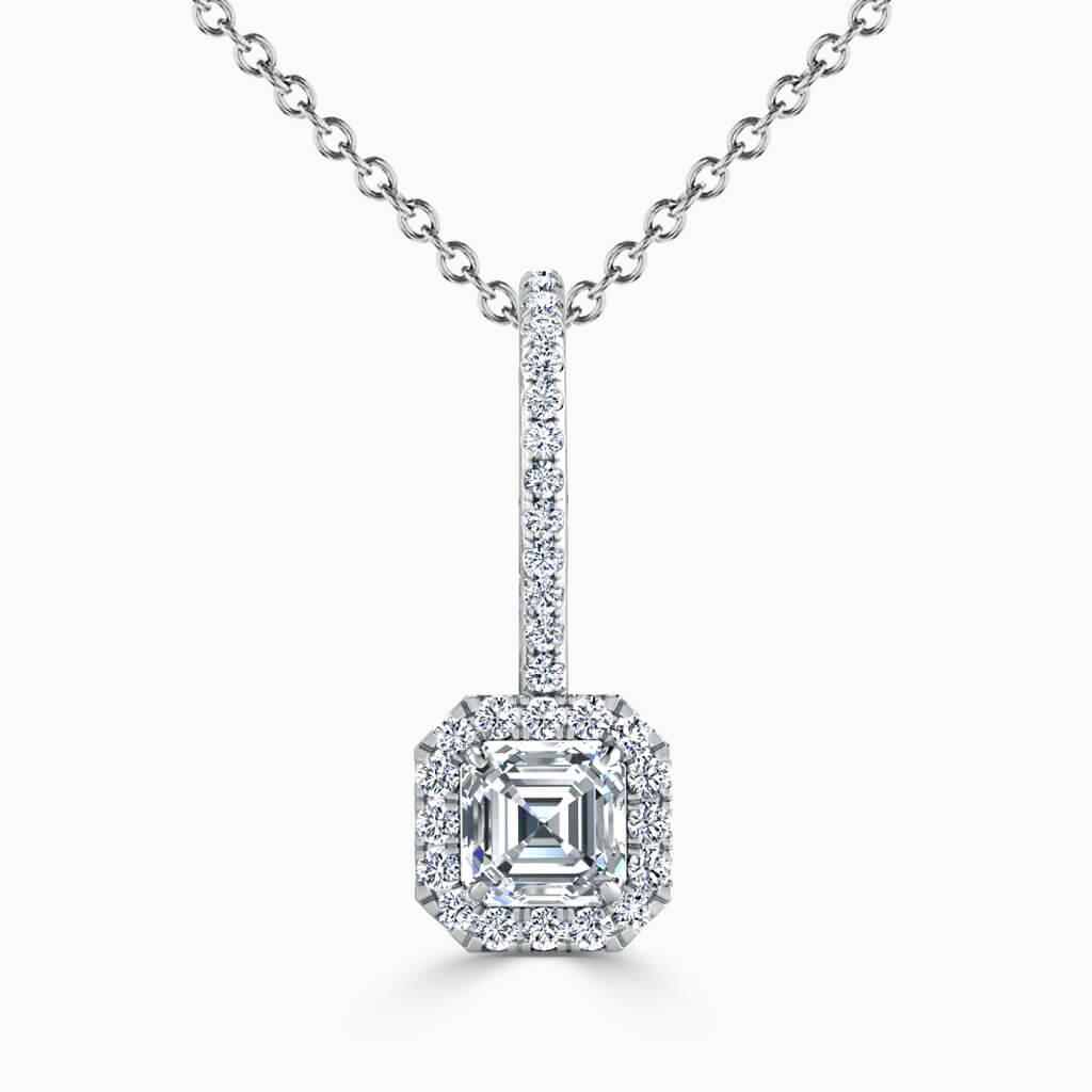 18ct White Gold Asscher Cut Cutdown Diamond Drop Pendant