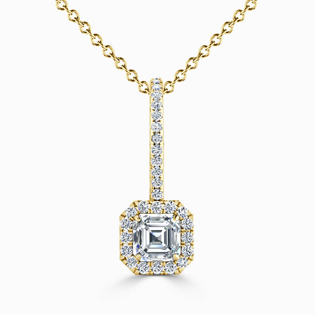 18ct Yellow Gold Asscher Cut Cutdown Diamond Drop Pendant