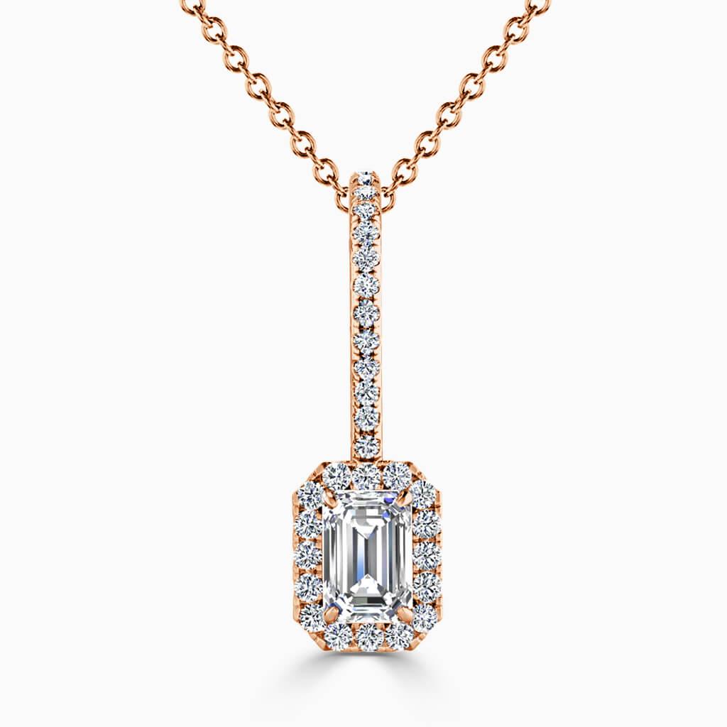 18ct Rose Gold Emerald Cut Cutdown Diamond Drop Pendant