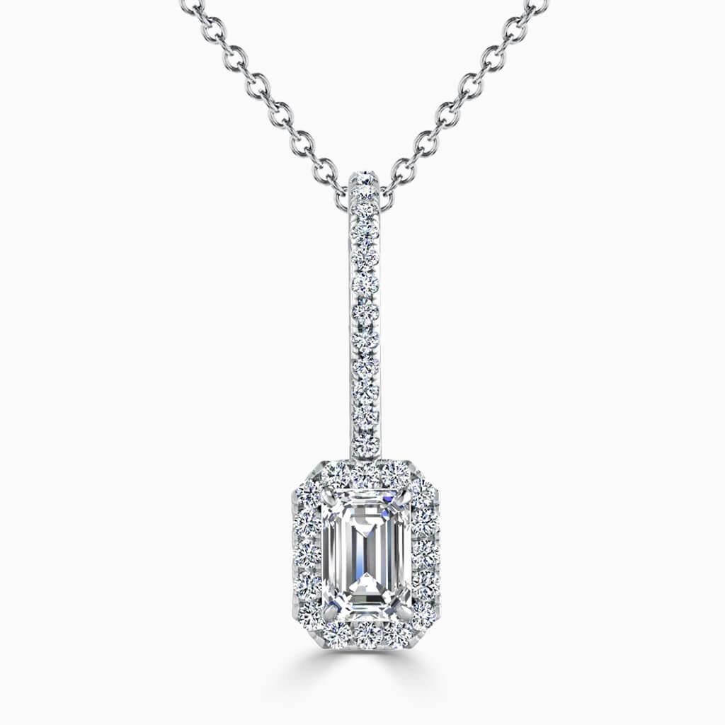 18ct White Gold Emerald Cut Cutdown Diamond Drop Pendant