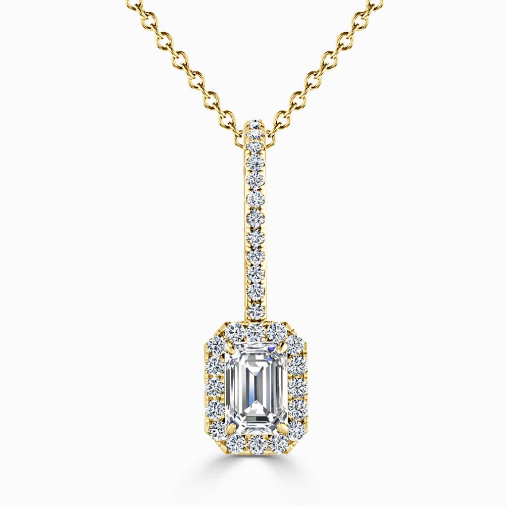 18ct Yellow Gold Emerald Cut Cutdown Diamond Drop Pendant