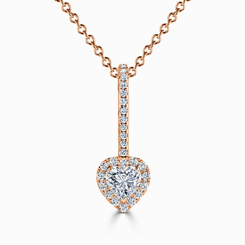 18ct Rose Gold Heart Shape Cutdown Diamond Drop Pendant