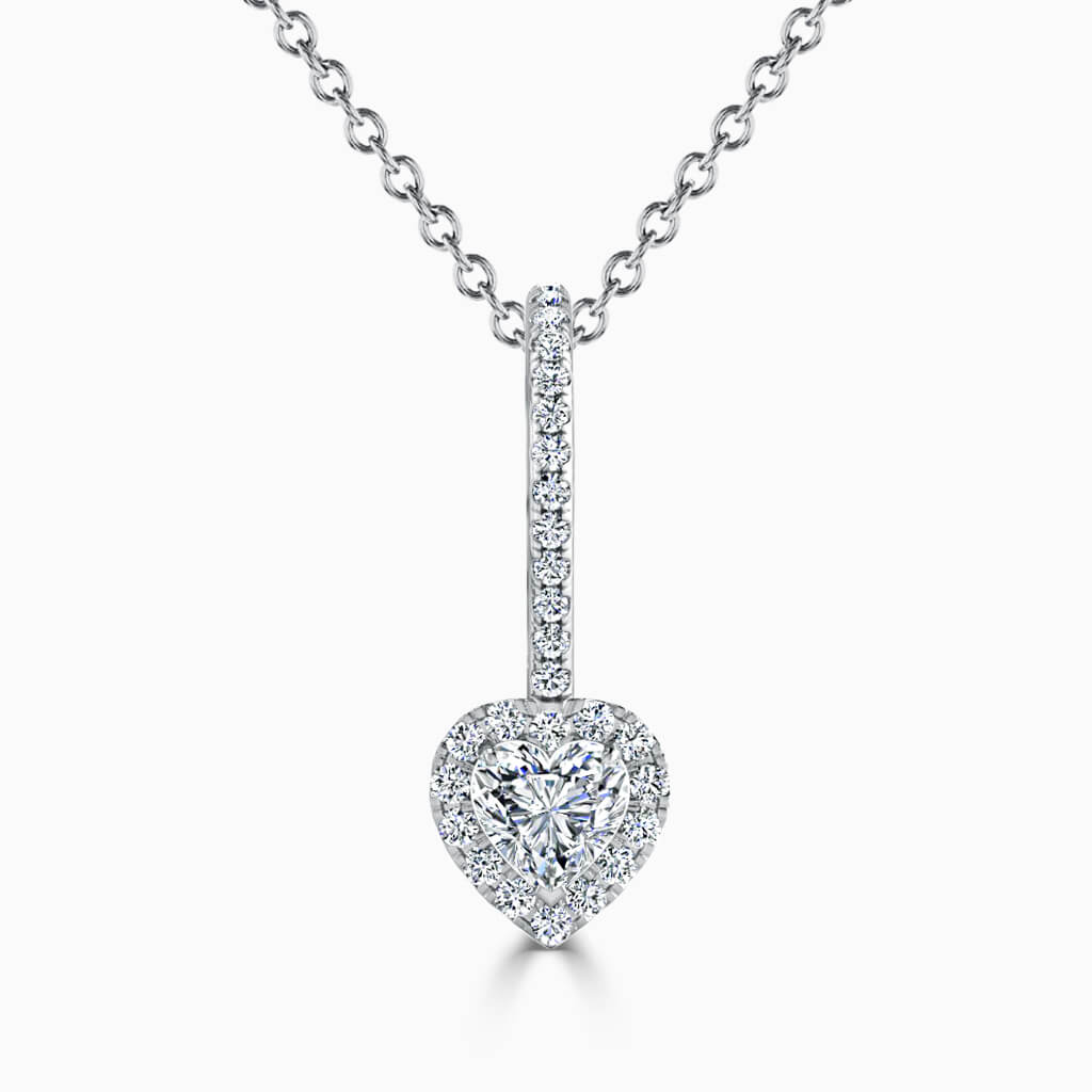 18ct White Gold Heart Shape Cutdown Diamond Drop Pendant