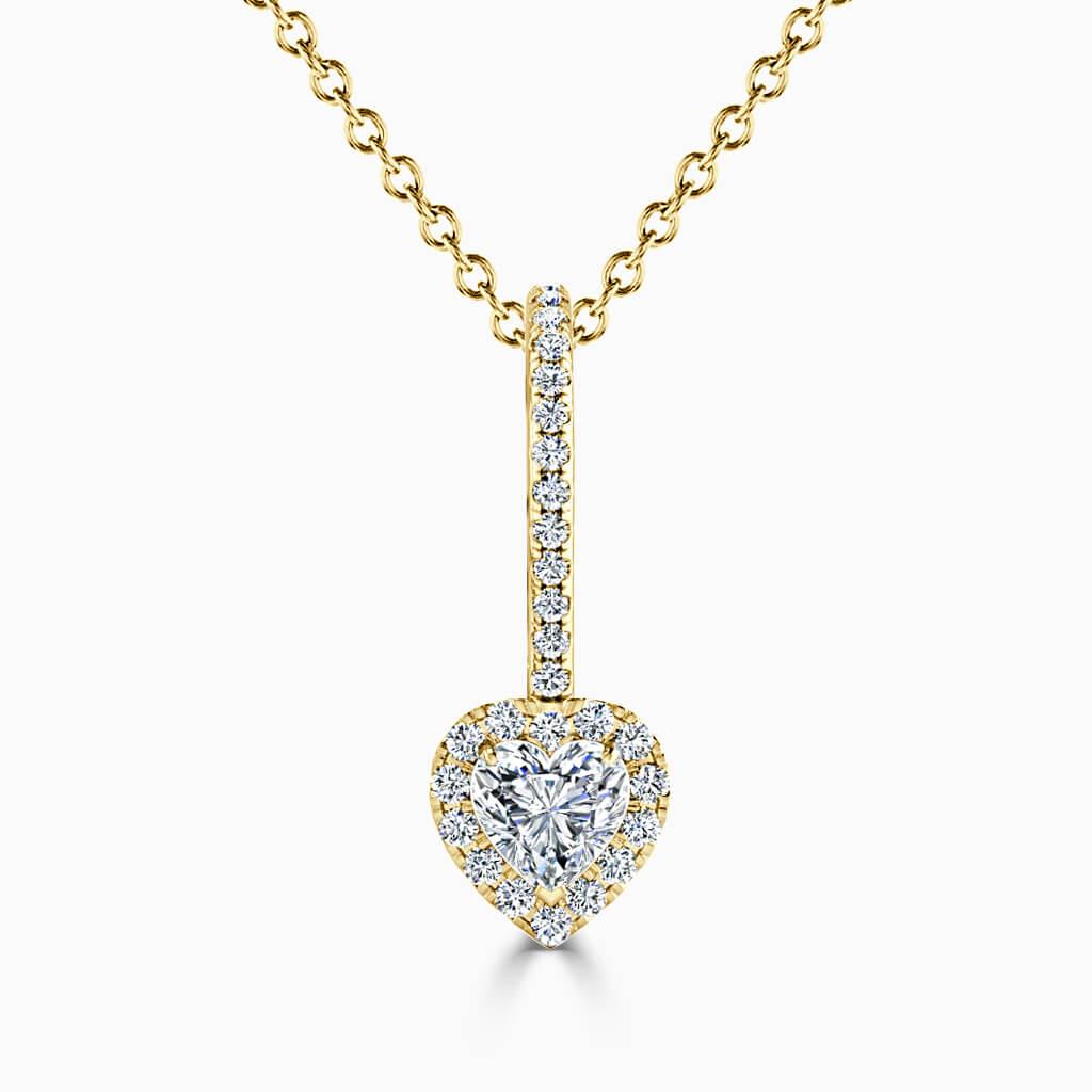 18ct Yellow Gold Heart Shape Cutdown Diamond Drop Pendant