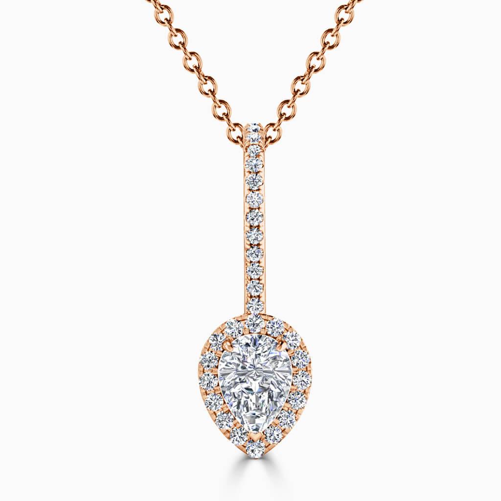 18ct Rose Gold Pear Shape Cutdown Diamond Drop Pendant