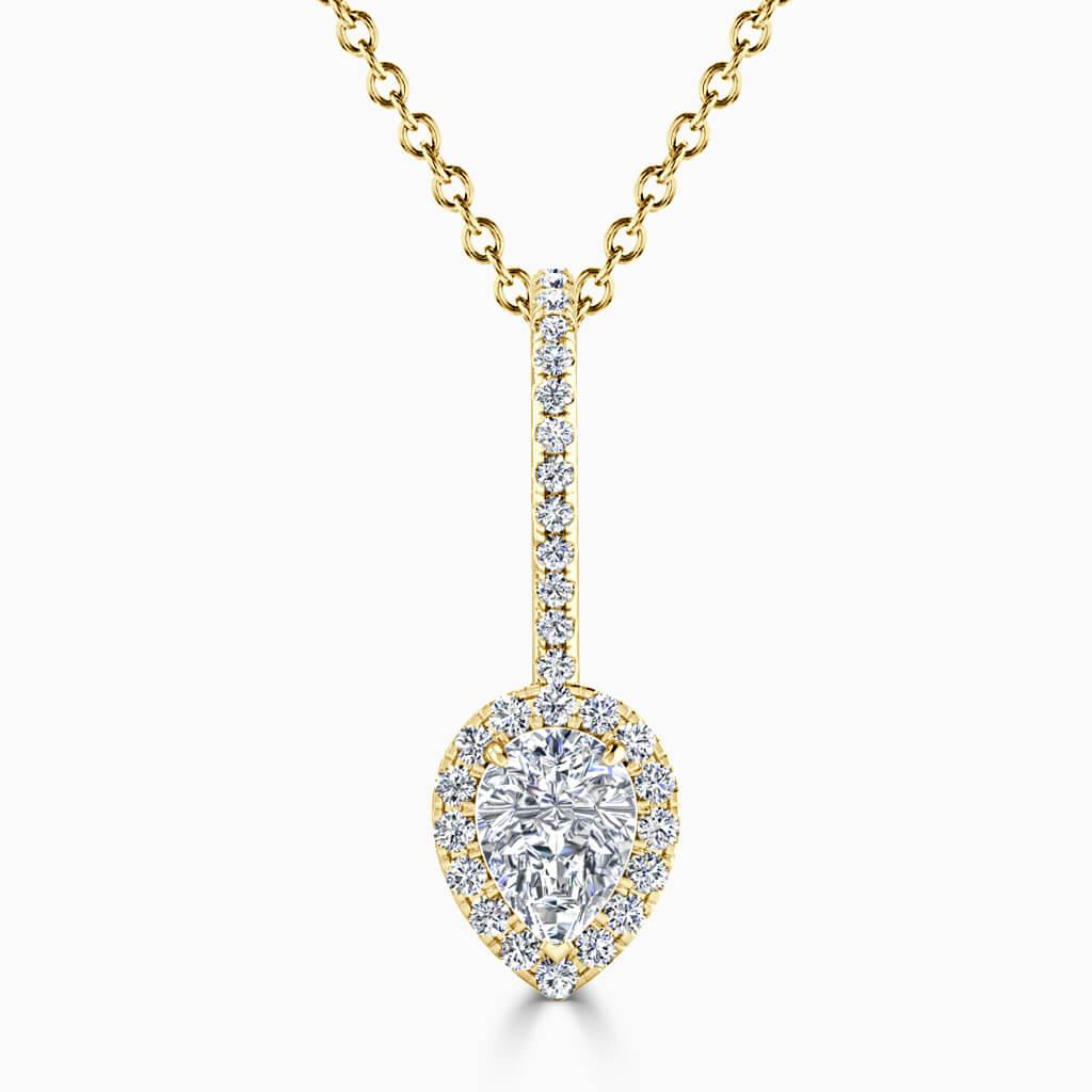18ct Yellow Gold Pear Shape Cutdown Diamond Drop Pendant