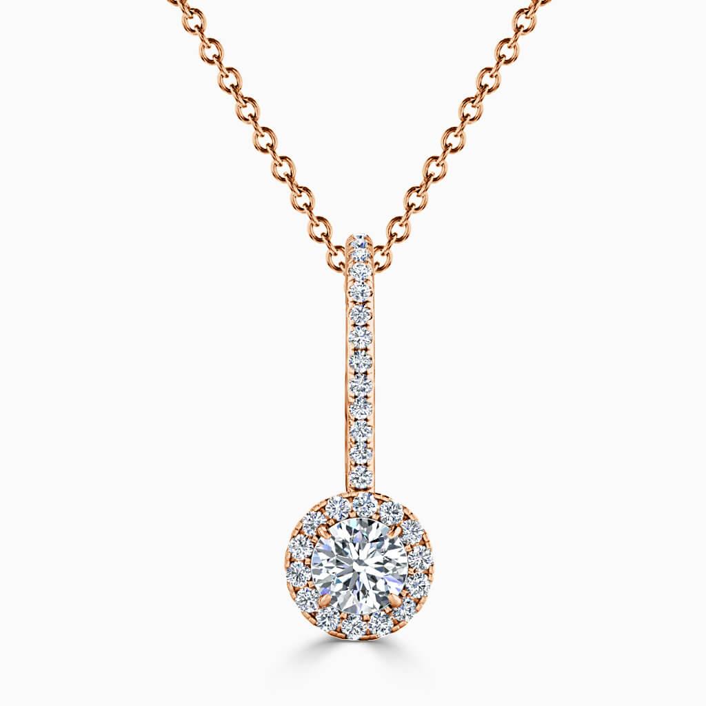 18ct Rose Gold Round Brilliant Cutdown Diamond Drop Pendant