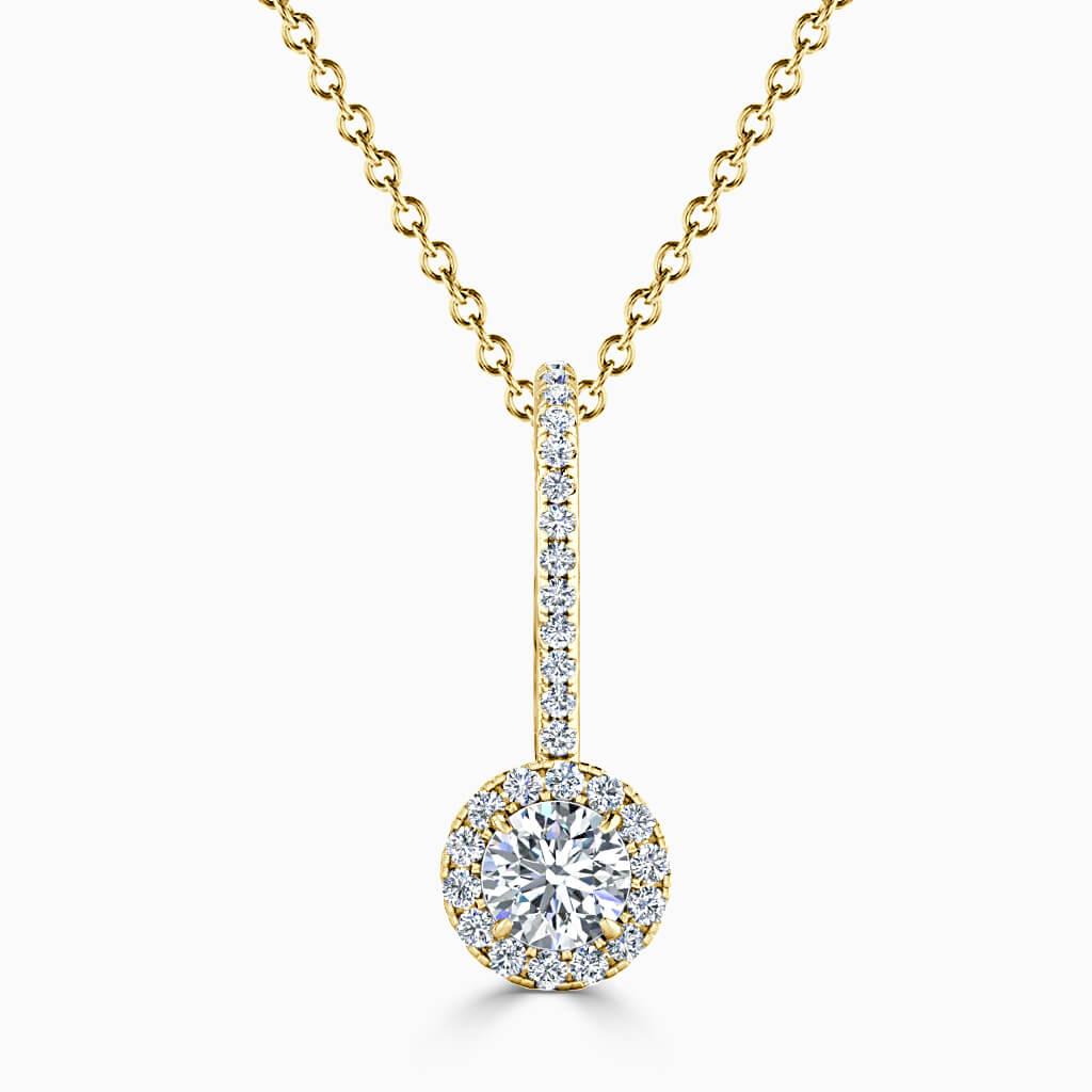 18ct Yellow Gold Round Brilliant Cutdown Diamond Drop Pendant