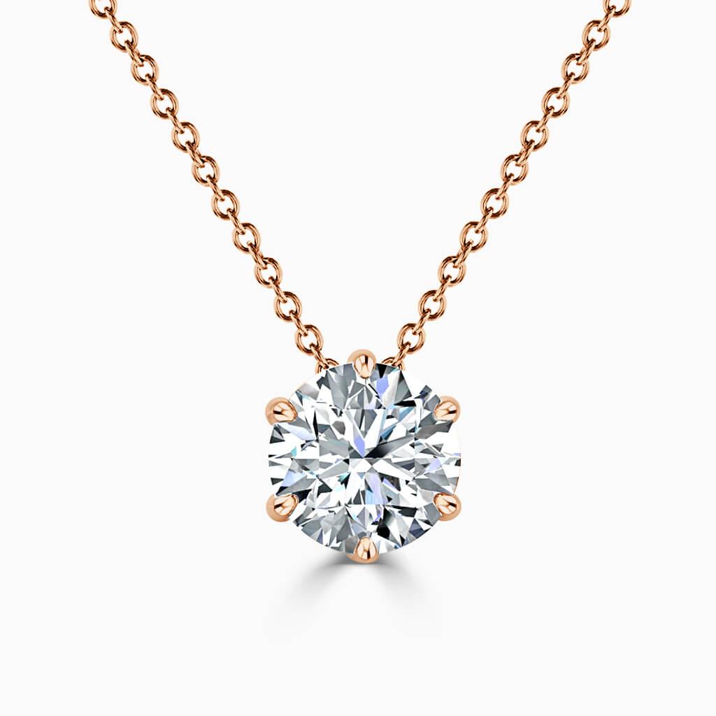 18ct Rose Gold Round Brilliant 6 Claw Diamond Pendant