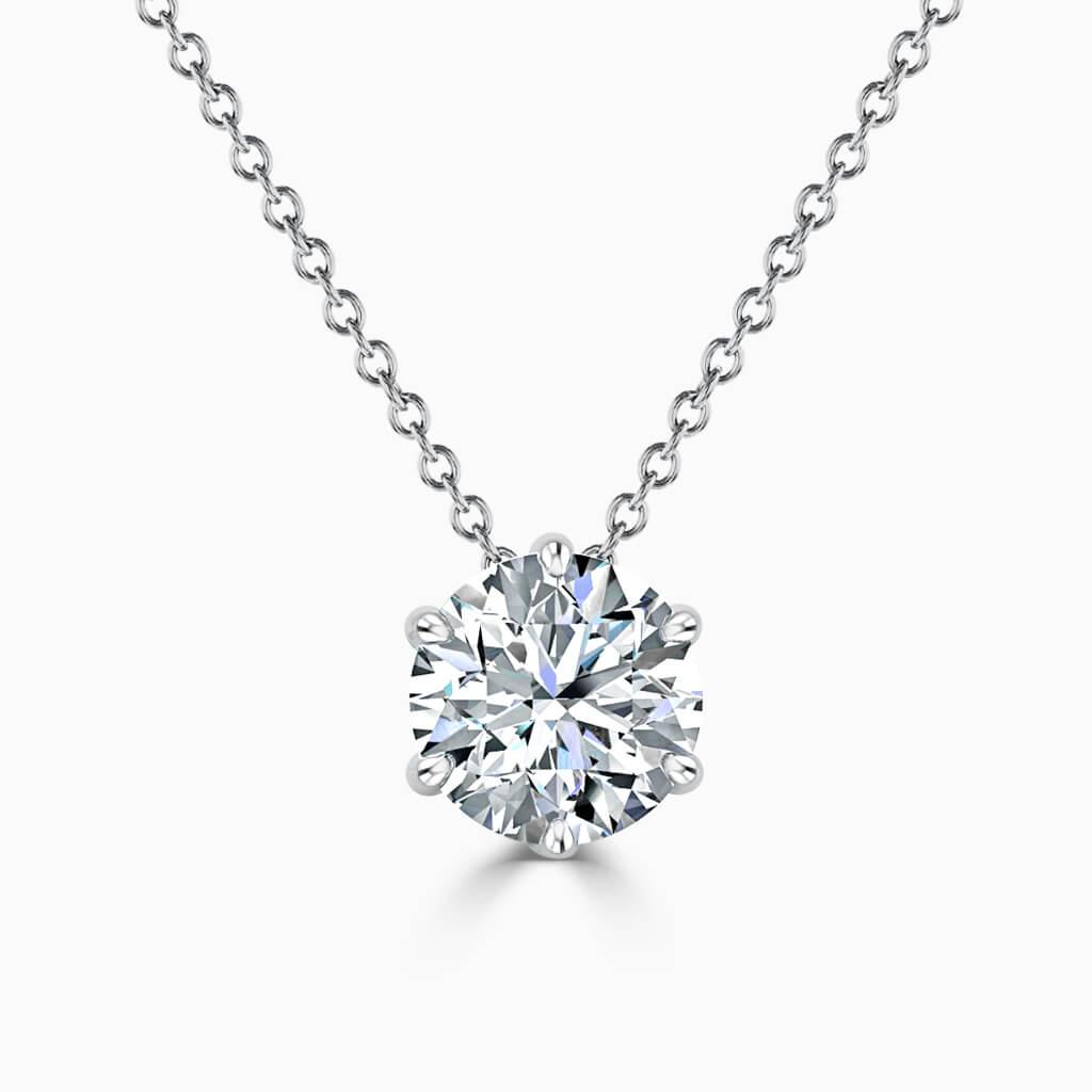 18ct White Gold Round Brilliant 6 Claw Diamond Pendant