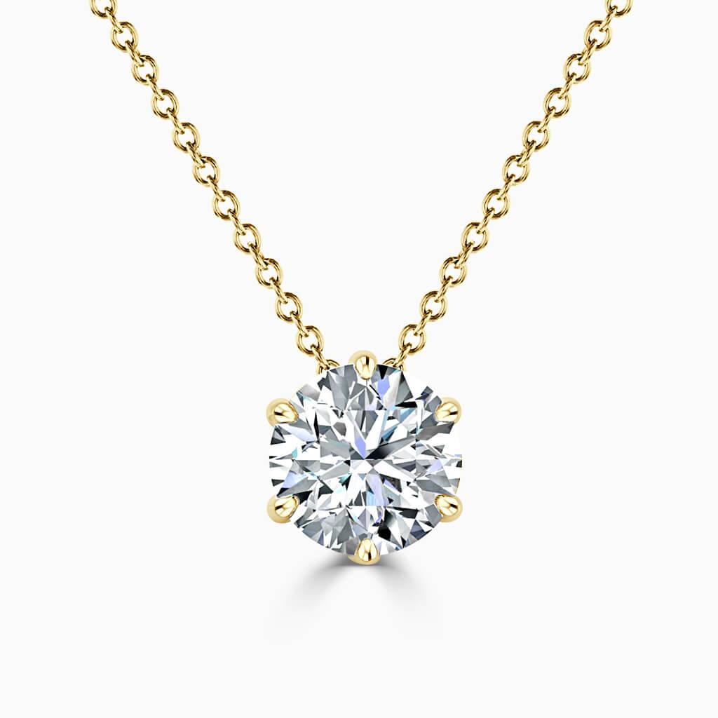 18ct Yellow Gold Round Brilliant 6 Claw Diamond Pendant