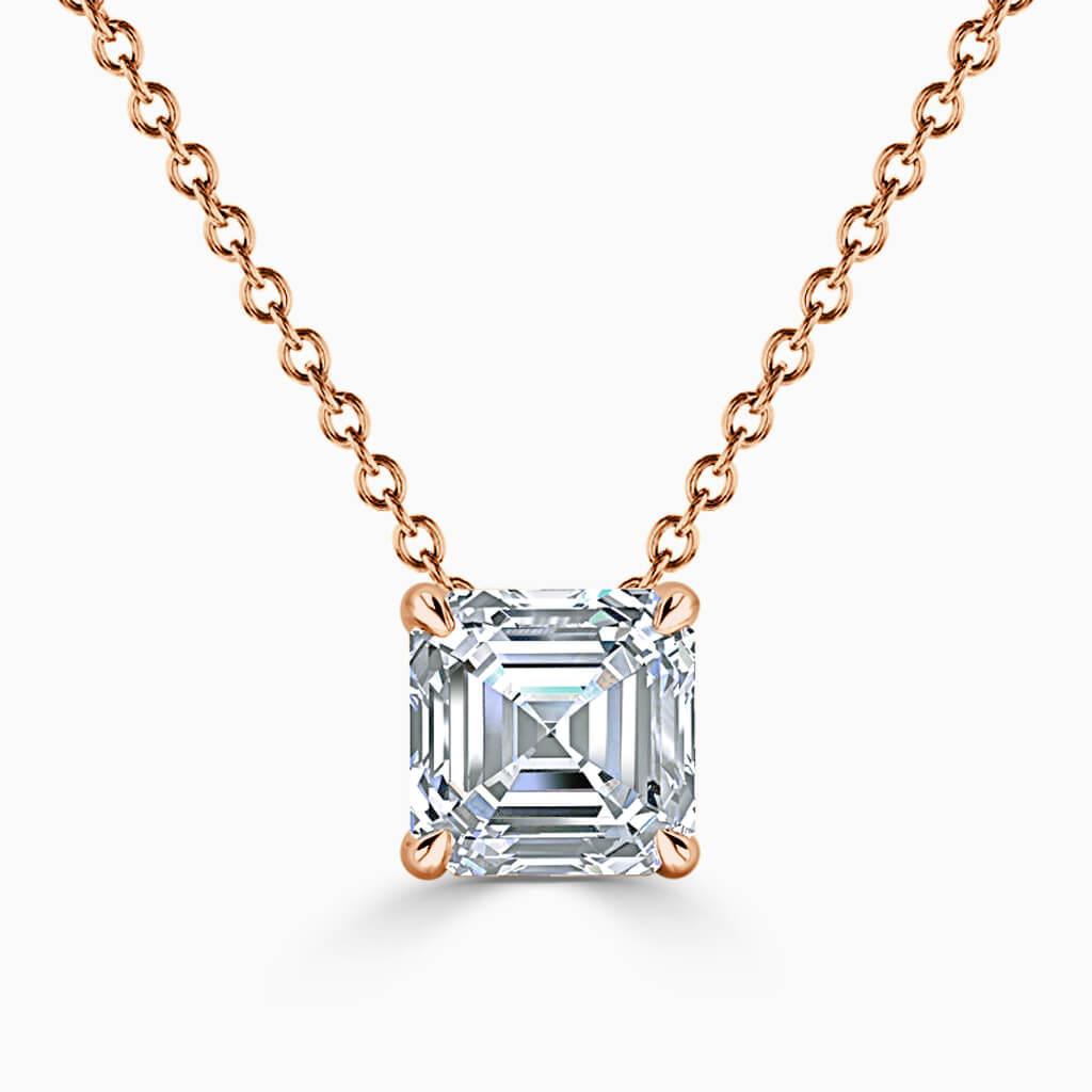 18ct Rose Gold Asscher Cut 4 Claw Diamond Pendant