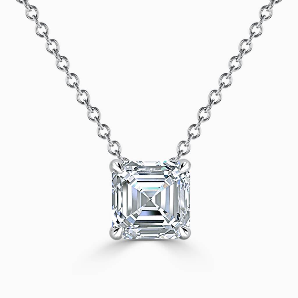 18ct White Gold Asscher Cut 4 Claw Diamond Pendant