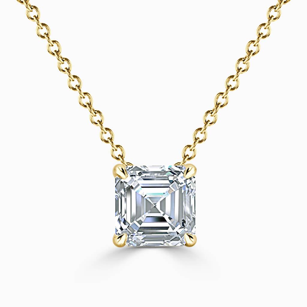 18ct Yellow Gold Asscher Cut 4 Claw Diamond Pendant