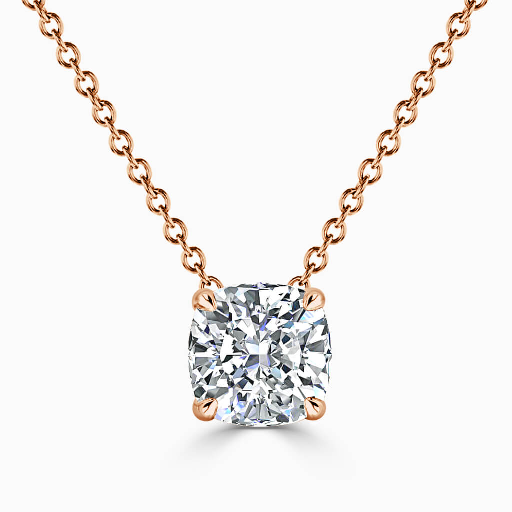 18ct Rose Gold Cushion Cut 4 Claw Diamond Pendant