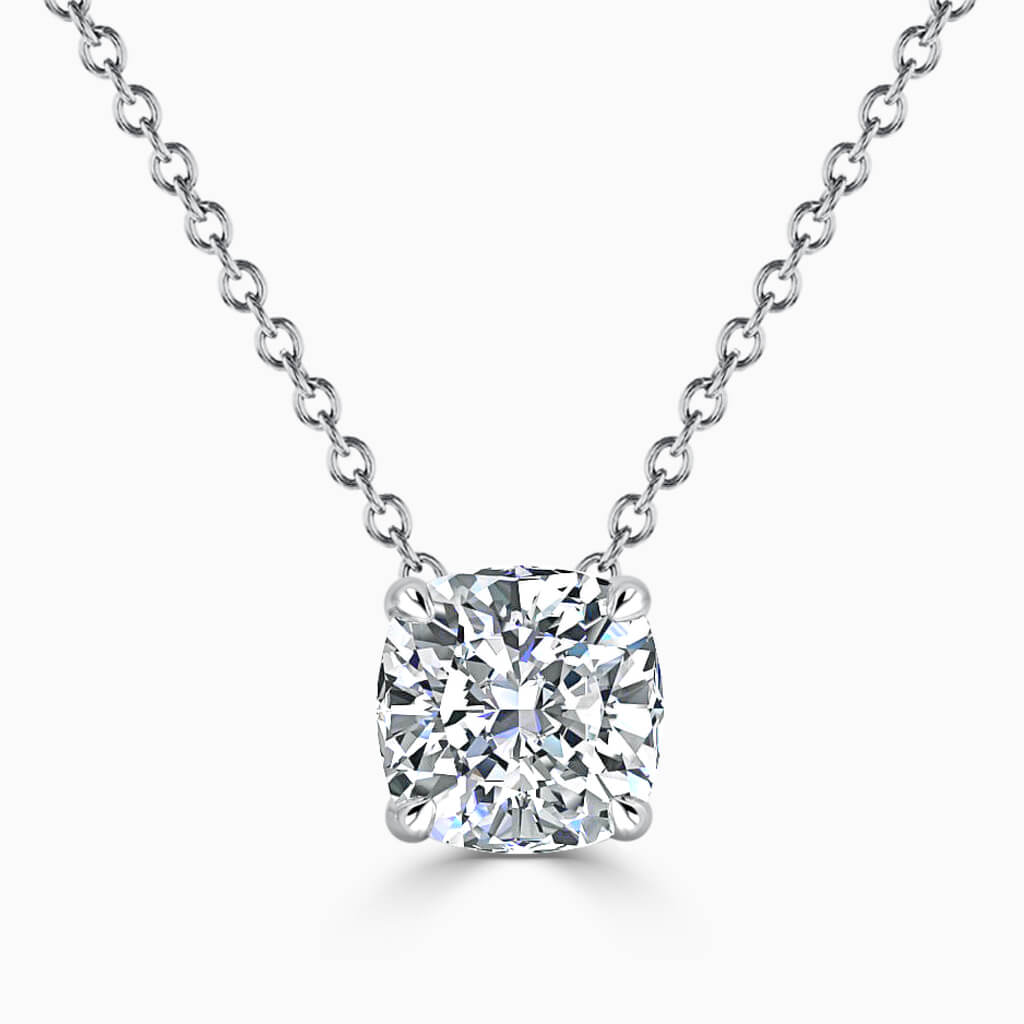 18ct White Gold Cushion Cut 4 Claw Diamond Pendant
