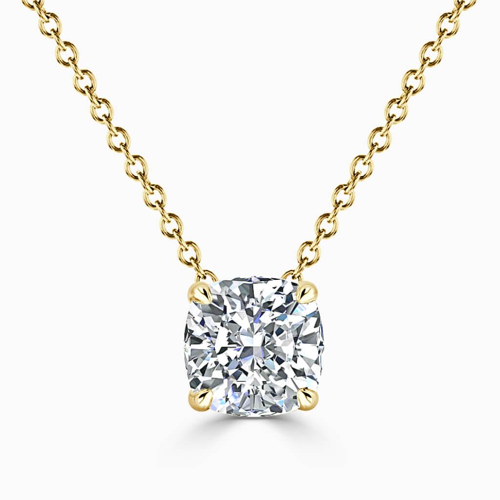 18ct Yellow Gold Cushion Cut 4 Claw Diamond Pendant