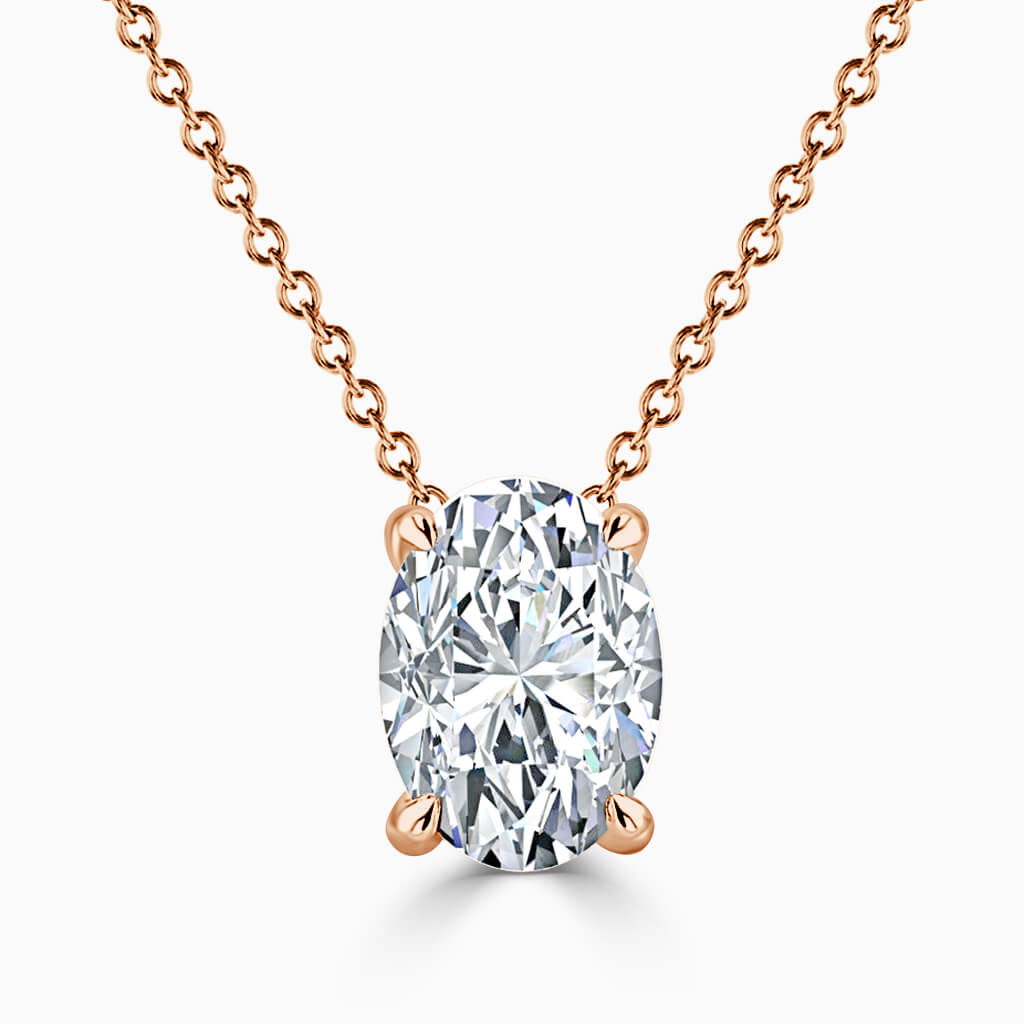 18ct Rose Gold Oval Shape 4 Claw Diamond Pendant