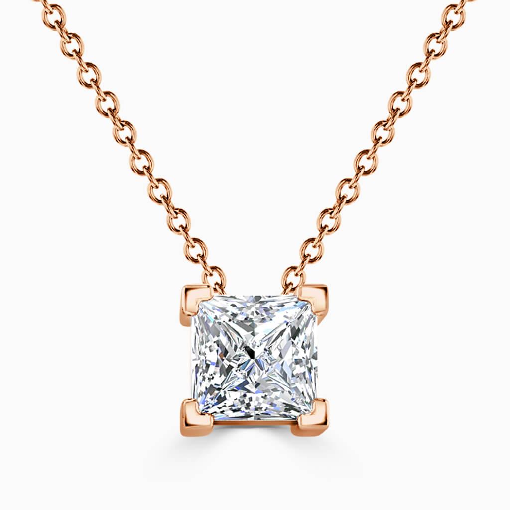 18ct Rose Gold Princess Cut 4 Claw Diamond Pendant