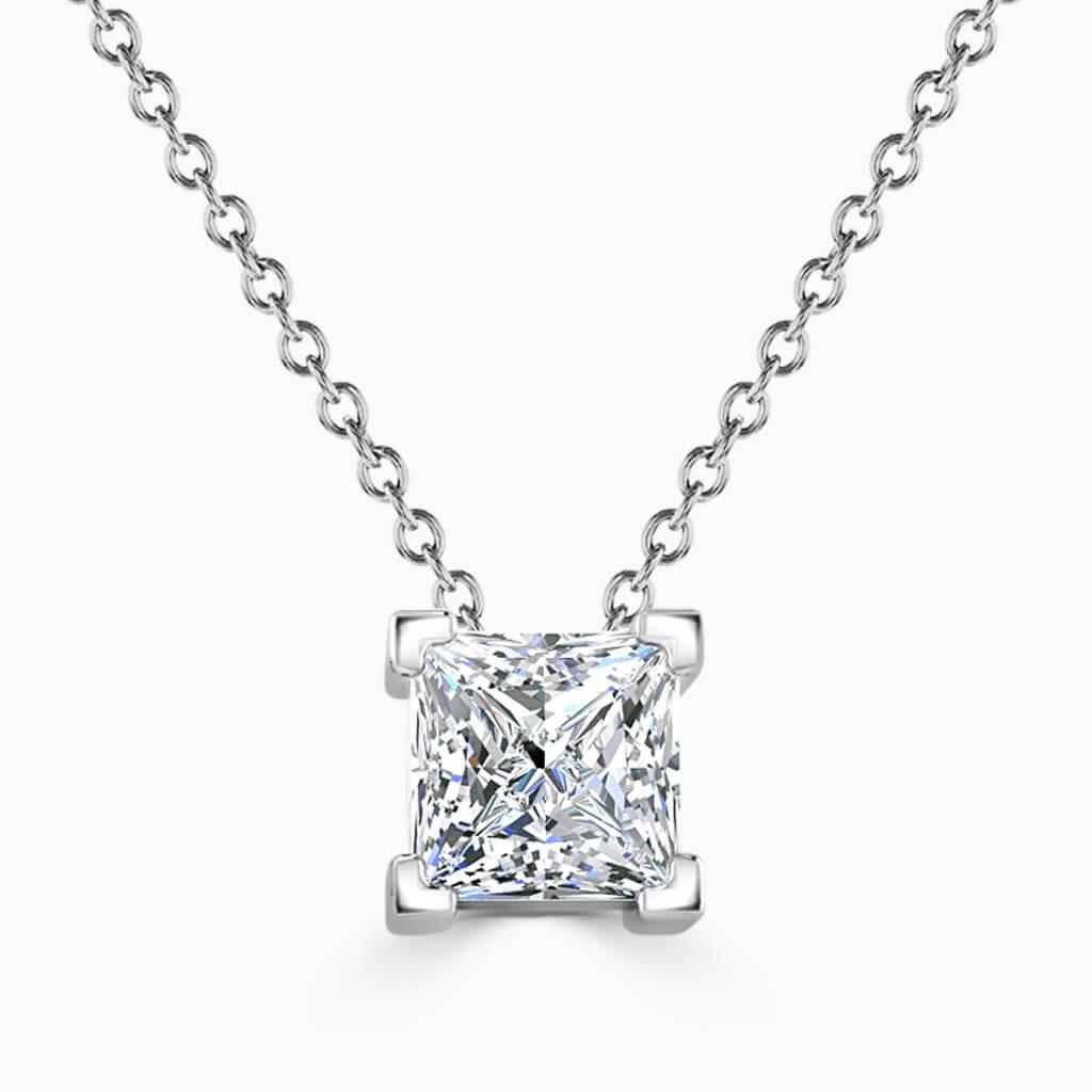 18ct White Gold Princess Cut 4 Claw Diamond Pendant