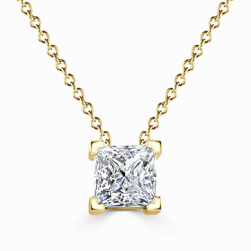 18ct Yellow Gold Princess Cut 4 Claw Diamond Pendant