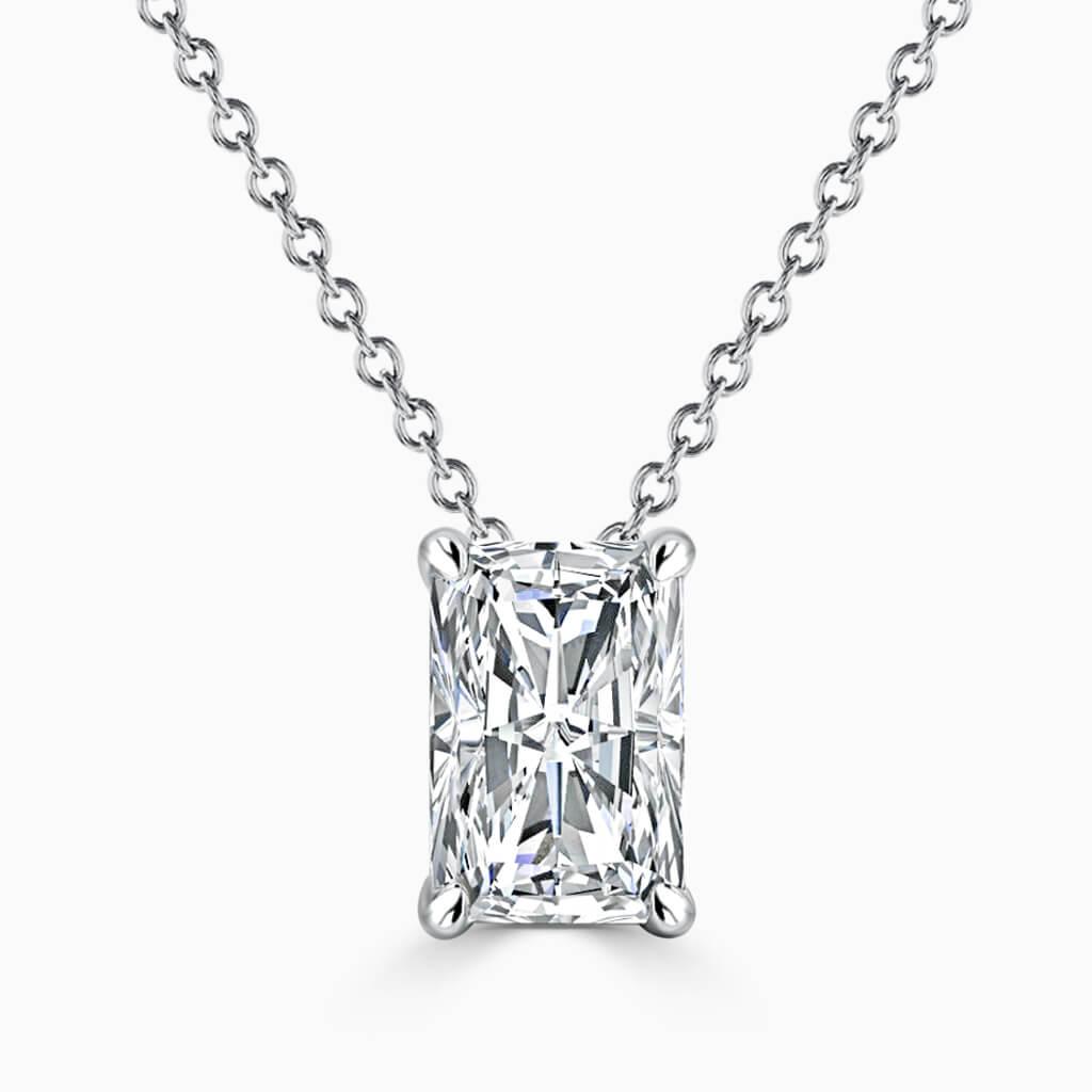18ct White Gold Radiant Cut 4 Claw Diamond Pendant