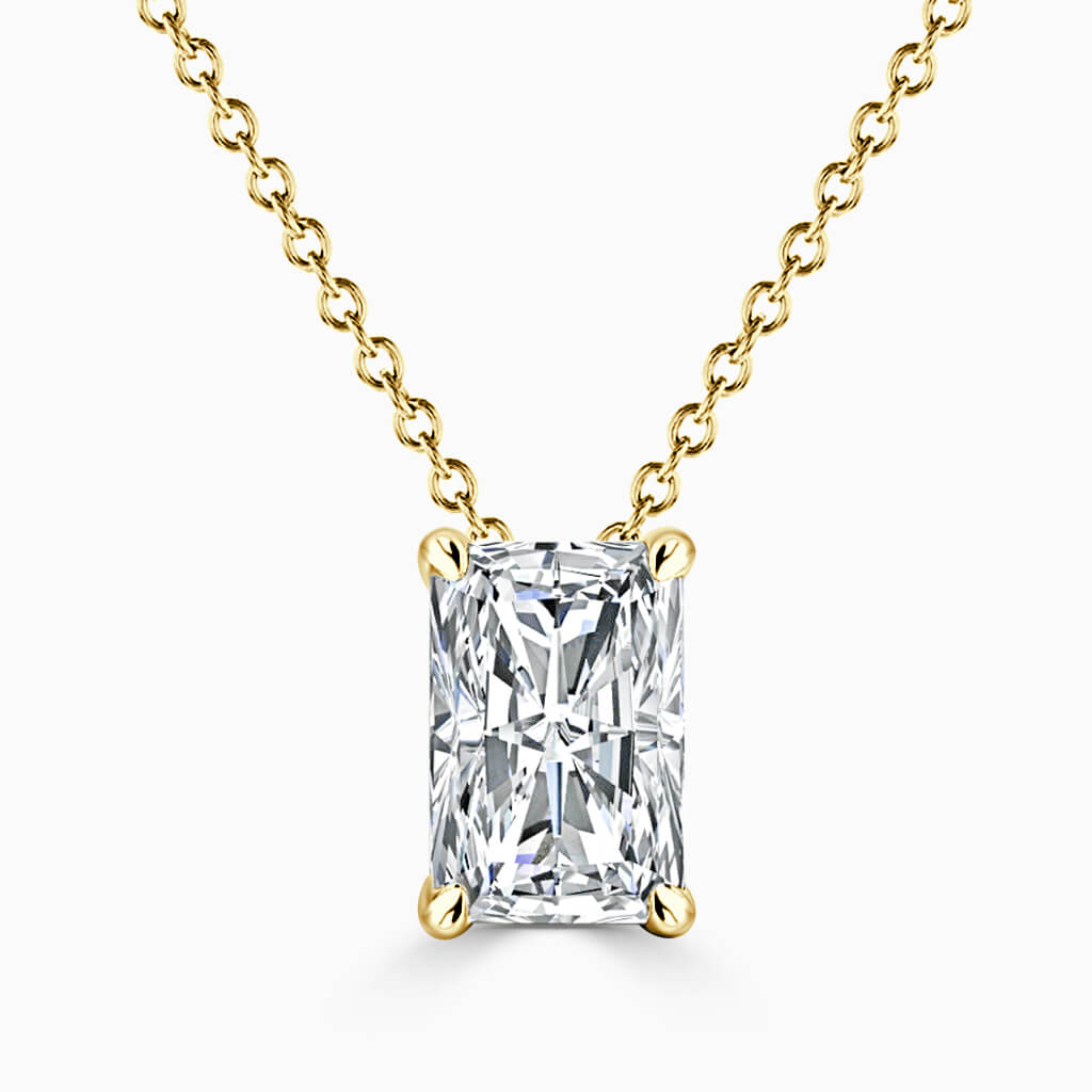 18ct Yellow Gold Radiant Cut 4 Claw Diamond Pendant
