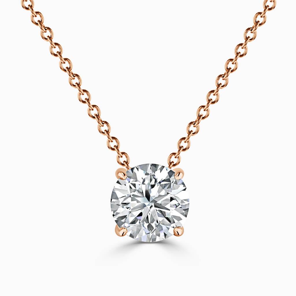 18ct Rose Gold Round Brilliant 4 Claw Diamond Pendant