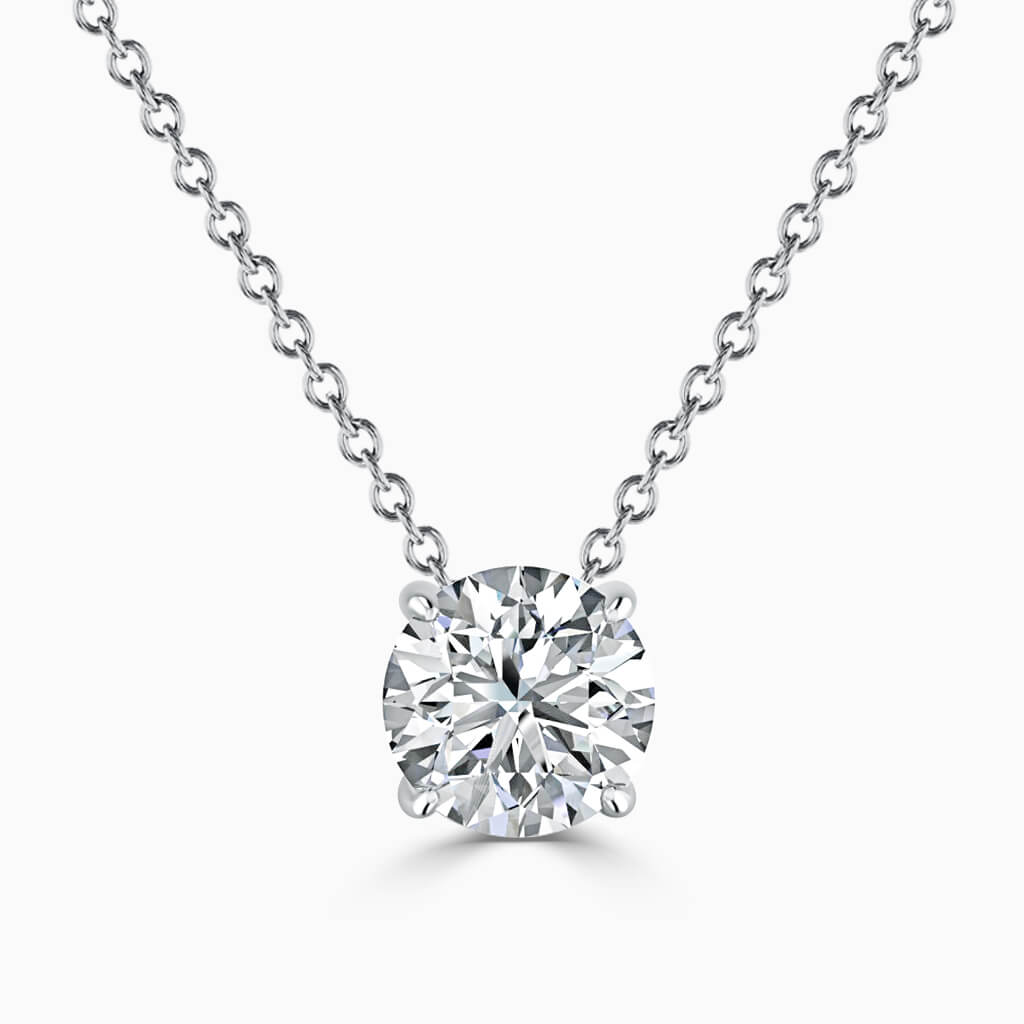 18ct White Gold Round Brilliant 4 Claw Diamond Pendant