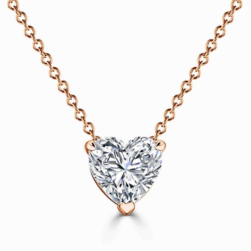 18ct Rose Gold Heart Shape 3 Claw Diamond Pendant
