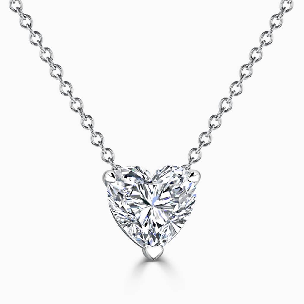 18ct White Gold Heart Shape 3 Claw Diamond Pendant