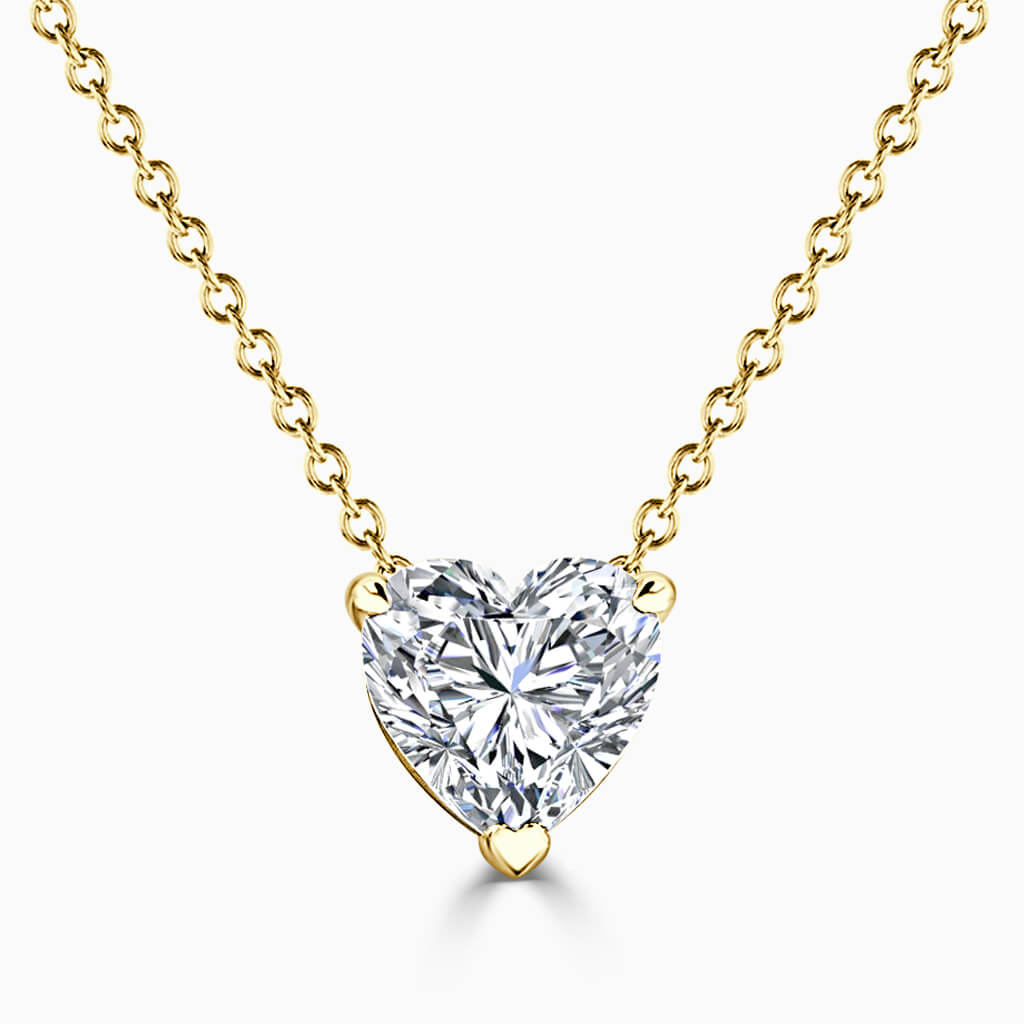 18ct Yellow Gold Heart Shape 3 Claw Diamond Pendant