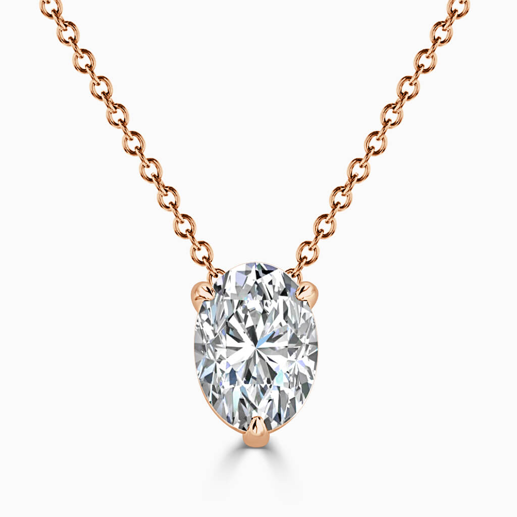 18ct Rose Gold Oval Shape 3 Claw Diamond Pendant