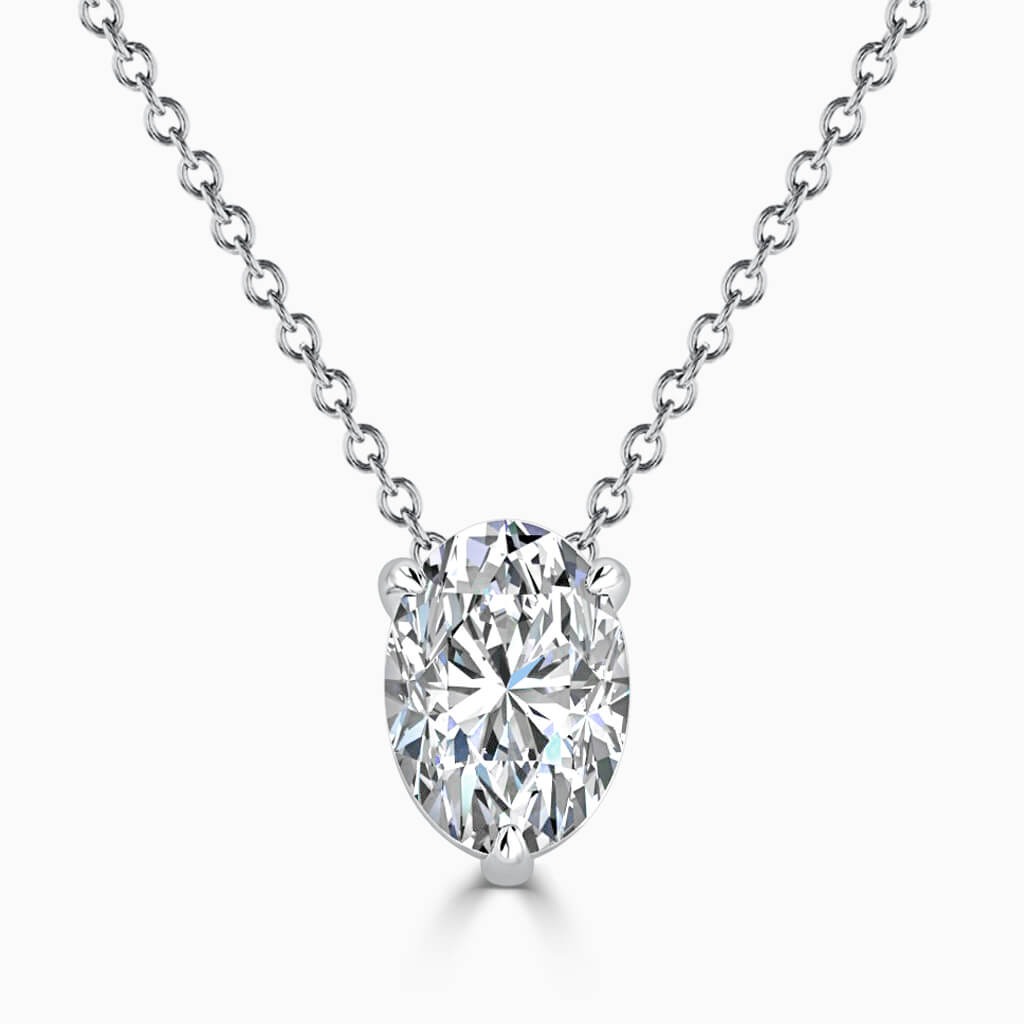 18ct White Gold Oval Shape 3 Claw Diamond Pendant