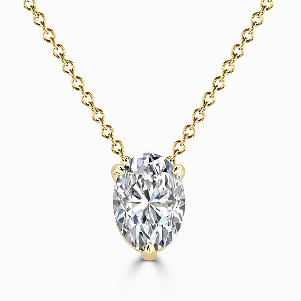 18ct Yellow Gold Oval Shape 3 Claw Diamond Pendant
