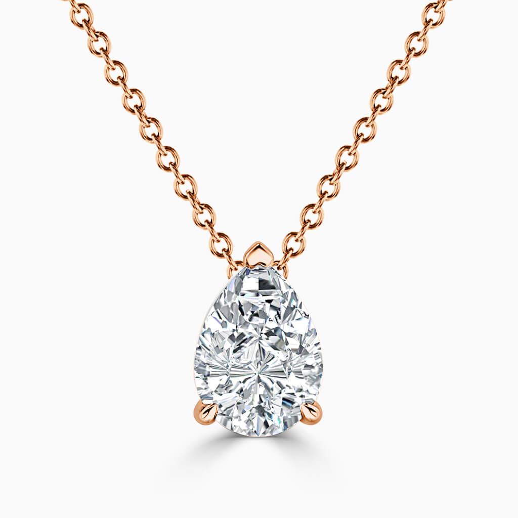 18ct Rose Gold Pear Shape 3 Claw Diamond Pendant