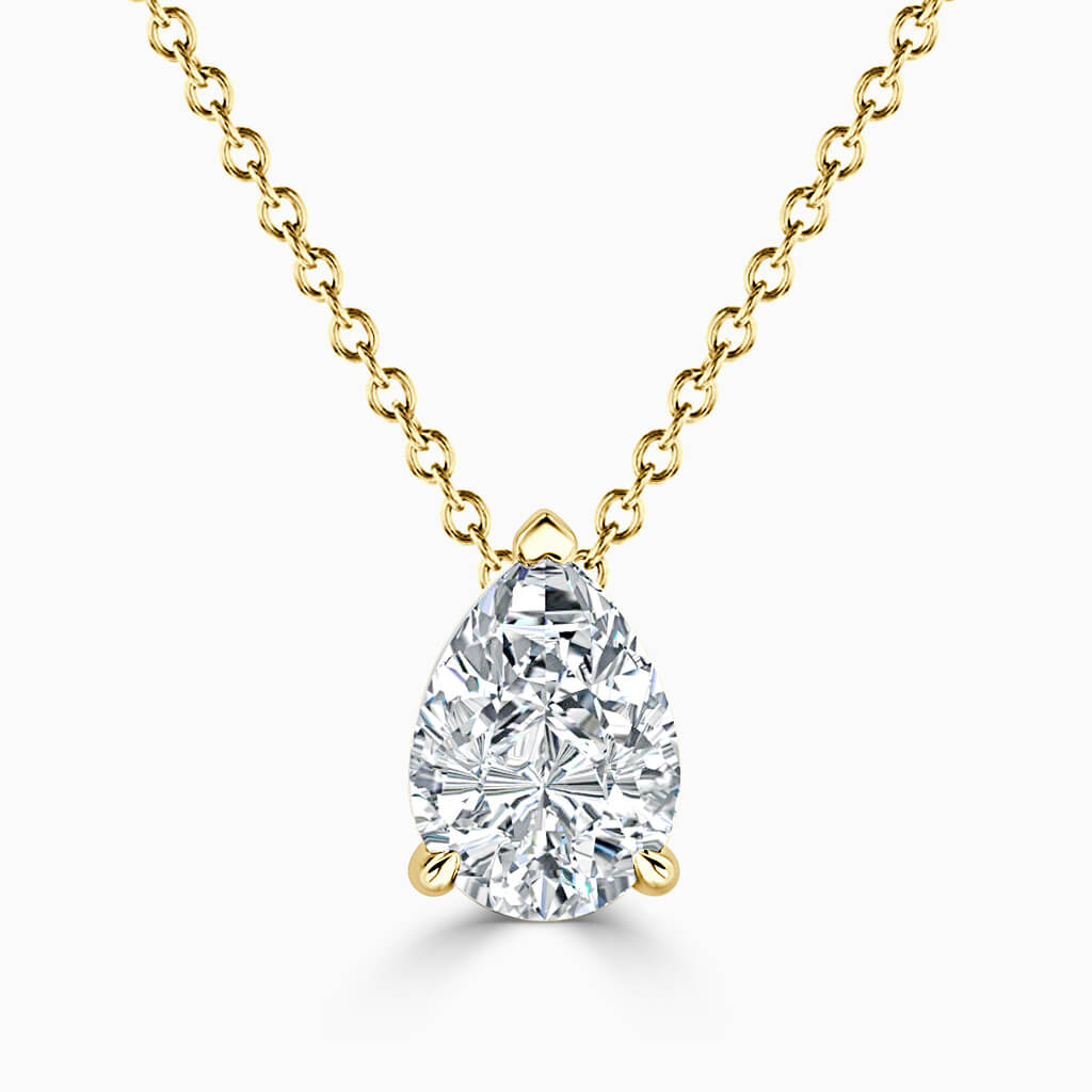 18ct Yellow Gold Pear Shape 3 Claw Diamond Pendant