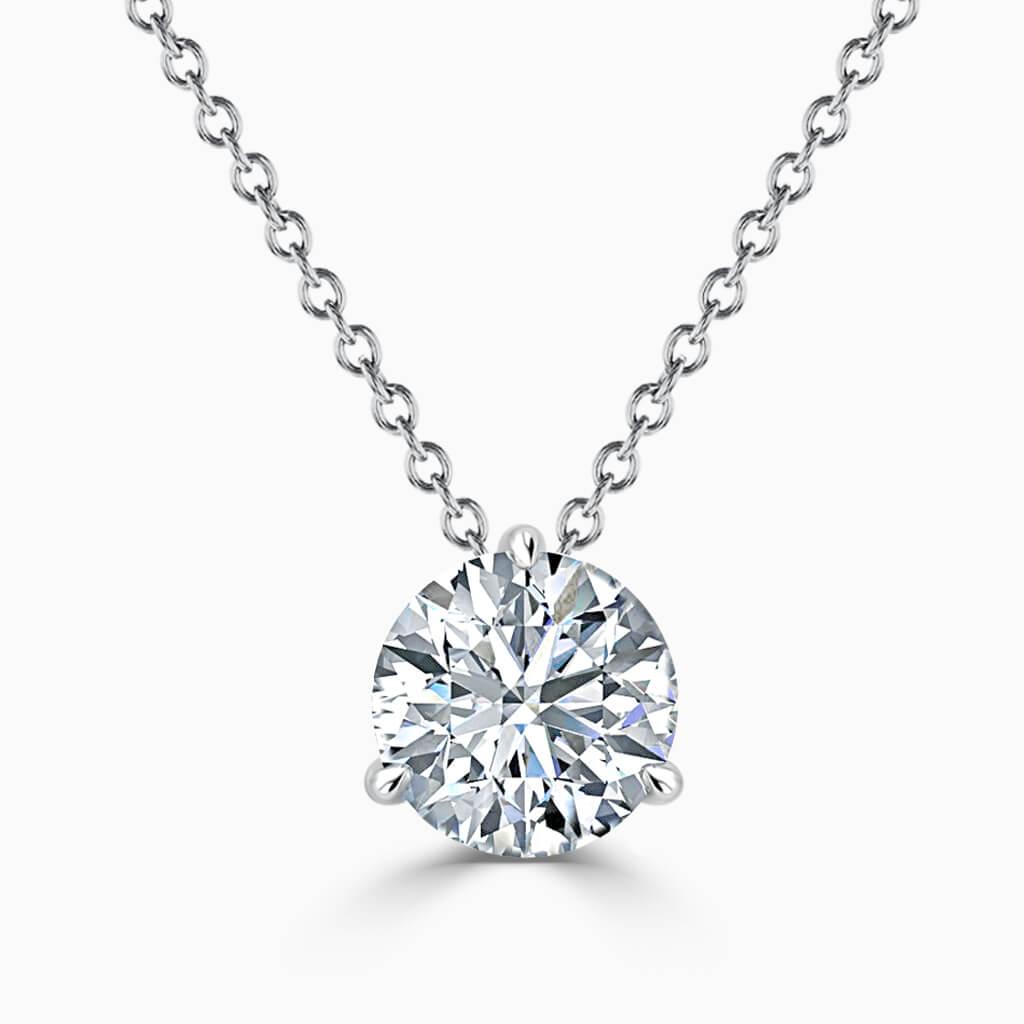 18ct White Gold Round Brilliant 3 Claw Diamond Pendant